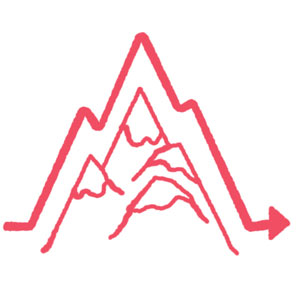 Drawing of mountains with graph line outlining peaks