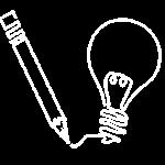 pencil writing light bulb