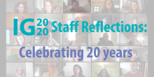 """Image of the full IG team in Zoom as the background and text in front that says """"IG2020 Staff Reflections: Celebrating 20 years"""""""